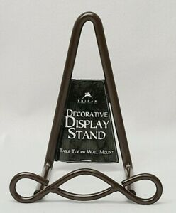 Tripar Decorative Metal Easel Display Stand, Table Top/Wall Mount-Dark Brown-NEW