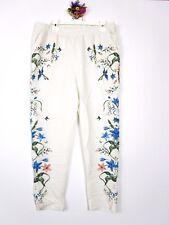 H&M Womens Cream Fashion Casual High Waist Floral Print Trousers Pants sz S AZ15