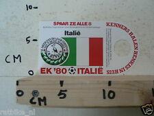STICKER,DECAL EK 80 ITALIE VOETBAL,SOCCER JH HENKES ITALIE,ITALY