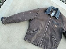 Carhartt Destroyed Detroit Blanket Lined Coat Jacket Brown Large Tall Chore