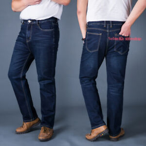 Mens Casual Jeans Pants Stretchy Denim Troursers Mid Waist Loose Plus Size 30-48