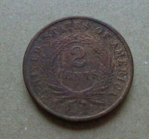 1864 USA 2 cents circulated Coin KM# 94