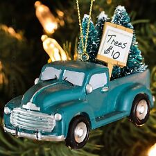 Blue Pickup Truck Christmas Tree Ornament for Personalization by Kurt Adler