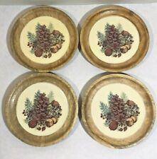 Twos Company Mango Wood Small Plates Coasters Fall Decoration Pinecone Rustic