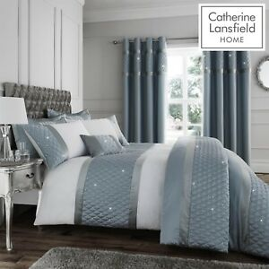 Catherine Lansfield Luxury Sequin Cluster Bedroom Collection Duck Egg Blue