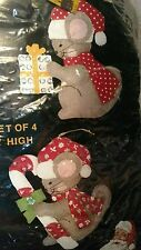 Christmas (4) Mice Felt Ornament Kit by Titan Needlecraft  NEW