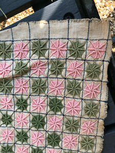 Antique 'wheel' embroidered piece of linen, green & pink hand stitched