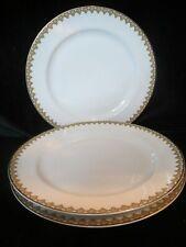 "HAVILAND FRANCE THE MONACO LIMOGES GREEN & RED SCROLLS 3 DINNER PLATES 93/4"""