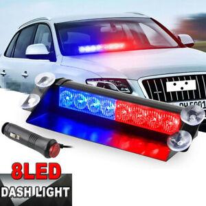 12V Car Red/Blue LED Strobe 3Flash Light 8LEDs Police Warning Flashing Dash Lamp