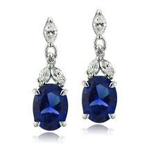 925 Silver Lab Created Blue Sapphire & CZ Oval Dangle Earrings