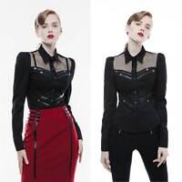 PUNK RAVE Uniformbluse Schwarz Gothic-Bluse mit Netzkontrasten Military Shirt
