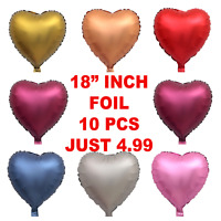 10 X Red Heart Foil Helium Balloons Valentines Day Wedding Engagement Decoration
