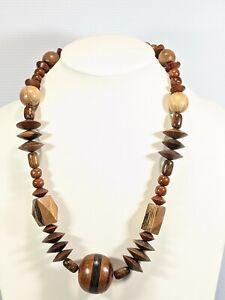 Artisan Dark Light Wood Tones Geometric Chunky Necklace
