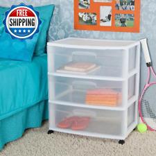 3 Drawer Rolling Wide Storage Cart Plastic Organizer Portable White Sterilite
