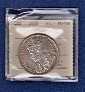 1936 Silver dollar. ICCS AU 58 TX105.     Item #9251