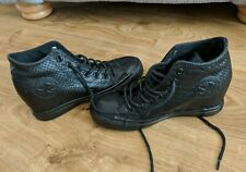 Converse All Star Black Leather Snakeskin Hidden Wedge Hi Top Trainers UK 4