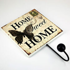 Wooden Antique Vintage Hook -  Home Sweet Home With Butterfly