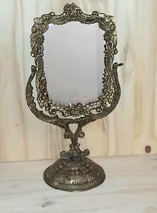 "Old Victorian Dresser Ornate Vanity Vintage Mirror Gold Tone Brass ANTIQUE 16"""