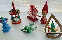 Vintage Christmas Ornaments Wood Mrs Santa Bird Mouse Scandinavian Girl Lot 6