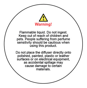 Diffuser warning usage instruction labels for car and other diffuser products