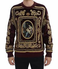 NEW $4600 DOLCE & GABBANA Sweater Velvet Gold Embroidered Royal Crown IT48 / M