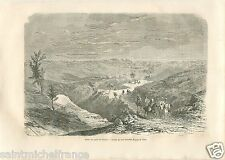 Vallée Puits Bitume Valley Royaume d'Ava Myanmar Birmanie GRAVURE OLD PRINT 1860