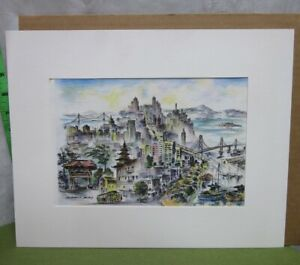 ALEC STERN matted art San Francisco Fantasy print Etchings of America '70s color