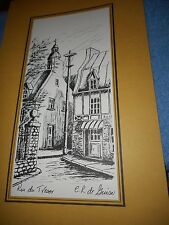 RUE DU TRESOR Quebec Signed C R De Guice BLACK INK DRAWN LITHO CIRCA 1960-1980