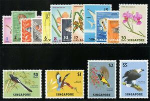 Singapore 1962 QEII Birds & Orchards set complete superb MNH. SG 63-77.