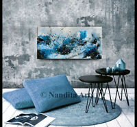 Teal Blue original artwork Canvas Painting Modern Acrylic Artwork by Nandita