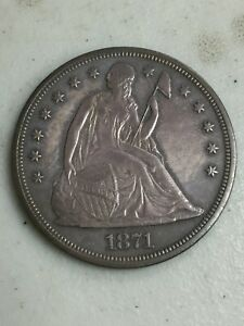*1871 SEATED LIBERTY SILVER DOLLAR*