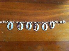 """Terero Italian Womens Rose Gold Over Sterling Silver 925  """"O"""" Charm Bracelet"""