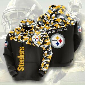 Pittsburgh Steelers Hoodies Pullover Hooded Sweatshirt Casual Jacket Fans Gift