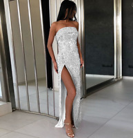 Women Sequin Strapless Long Dress High Slit Sexy Summer Cocktail Formal Party