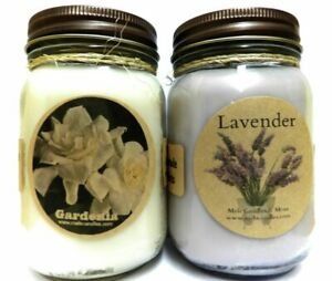 Gardenia and Lavender Set of TWO 16oz Soy Candles APX Burn Time 144 Hours Each