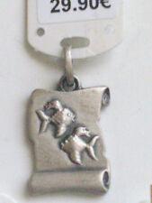 """Pendentif zodiacal """"Poissons"""" en argent forme parchemin ref 52200246 neuf+étiq."""