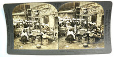 Keystone Stereoview Card - T525 - Spinning and Weaving Shawls Kashmir India