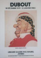 """""""DUBOUT / EXPOSITION 1980 ANTIBES """" Affiche originale entoilée 54x69cm"""