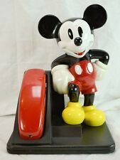 1994 At&T Leaning Mickey Mouse Phone Touch Tone Red Handset No Cables Included