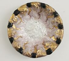Duban Christel Limoges art glass dish gold black pink