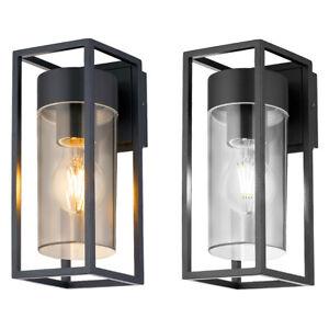 LED Rectangular Outdoor Wall Light Clear Metal Lantern Garden Wall Lamp