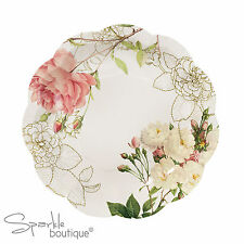 FLORAL PAPER PLATES x12- Blossom & Brogues Vintage Style - Wedding/Party/Buffet