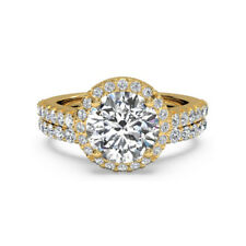 Real 1.60Ct Moissanite Solid 14k Yellow Gold Engagement Rings Wedding Band Set