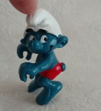 Rare Vintage Blue Smurf  Boy -  Seated Rowing (?) - Schleich Peyo 1980's Perfect