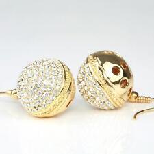 Oro Pendientes Circonia Blanco 1,7cm Ø BAÑADO EN ORO 750 18 quilates O1165