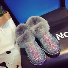 Glitter Sequins Ladies Shoes Fur Trim Rabbit Furry Casual New Fashion Snow Boots