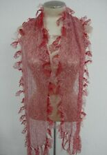 "Handmade Holiday Lace Scarf Red White Romantic Tie Fringe 8"" x 60"" Long"