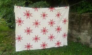Vintage Hand Stitched Snowflake Pattern  Quilt