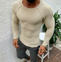 Men's Cable Knit Comfortable Sweater Slim Fit Long Sleeve Crew Neck Pullover Top