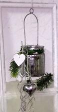 Windlicht Glaswindlicht Hängewindlicht Silber Shabby Chic Landhaus Vintage 9x7cm